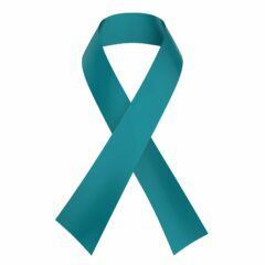 Teal Ribbon Ovarian Cancer Awareness isolated on white background. 3D render