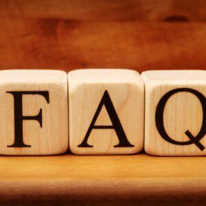 Building blocks spelling out faq